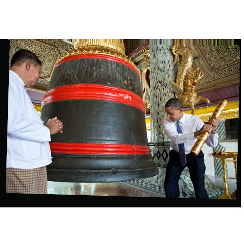 Barack Obama Rings a Bell in Myanmar