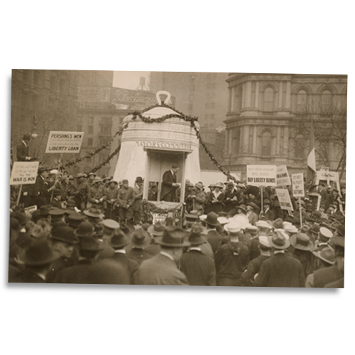 Veterans promote the buying of government bonds during the third Liberty Loan campaign