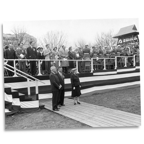 President Truman Waits for Queen Juliana to Present a Carillon of Bells